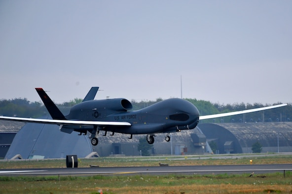 An RQ-4 Global Hawk from Andersen Air Force Base, Guam, lands May 24, 2014, at Misawa Air Base, Japan. The aircraft is part of the 69th Reconnaissance Group Detachment 1 and is the first Global Hawk to land in Japanese territory. (U.S. Air Force photo/Staff Sgt. Nathan Lipscomb