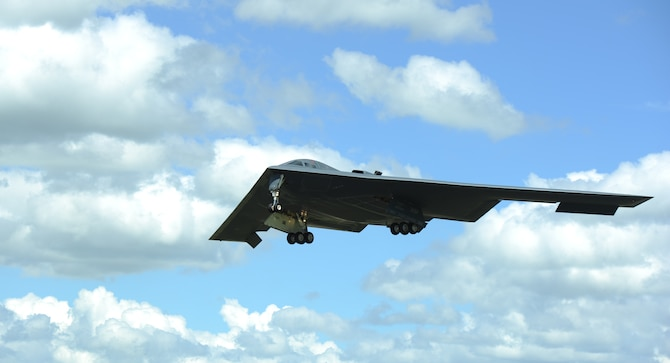 "The ""Spirit of Indiana,"" a B-2 Spirit from Whiteman Air Force Base, Missouri, prepares to land on the runway at RAF Fairford, England, June 8, 2014. The B-2 Spirit is a multi-role bomber capable of delivering both conventional and nuclear munitions. (U.S. Air Force photo/Staff Sgt. Nick Wilson)"