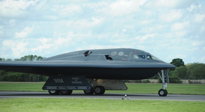 "The ""Spirit of Indiana,"" a B-2 Spirit from Whiteman Air Force Base, Missouri, taxis down the runway at RAF Fairford, England, June 8, 2014. The B-2 Spirit is a multi-role bomber capable of delivering both conventional and nuclear munitions. Its low-observable, or ""stealth,"" characteristics give it the unique ability to penetrate an enemy's most sophisticated defenses and threaten its most valued, and heavily defended, targets. (U.S. Air Force photo/Staff Sgt. Nick Wilson)"