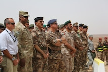 Prince of Jordan Faisal Bin Al-Hussein, Gen. Lloyd Austin, commander, U.S. Central Command, and Jordanian Chief of Defense Gen. Mashal Al Zaben, along with general officers and military officials from more than 20 different countries, watch the Combined Armed Live Fire Exercise (CALFEX) demonstration during Exercise Eager Lion 2014 in Jebel Petra, Jordan, June 5.  Eager Lion is a recurring, multinational exercise designed to strengthen military-to-military relationships, increase interoperability between partner nations and enhance regional security and stability.   (U.S. Marine Corps photo Master Sgt. Will Price, MARCENT/Released)