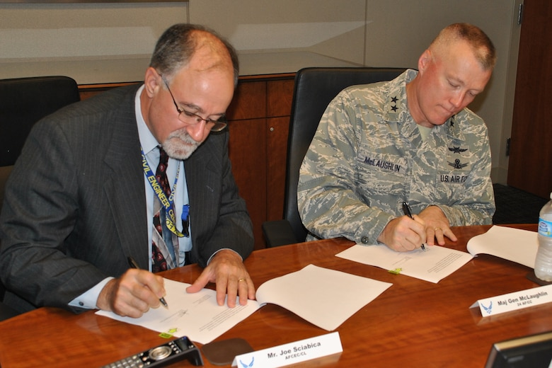 JOINT BASE SAN ANTONIO-LACKLAND, Texas -- Joe Sciabica, Air Force Civil Engineer Center director, and Maj. Gen. J. Kevin McLaughlin, 24th Air Force and Air Forces Cyber commander, sign the AFCEC-AFCYBER Nexus Collaboration during a meeting here June 12, 2014. The initiative is designed to increase collaboration between the agencies in order to enhance the security of industrial control systems supporting critical Air Force infrastructures around the world. (U.S. Air Force photo/Shannon Carabajal/Released)