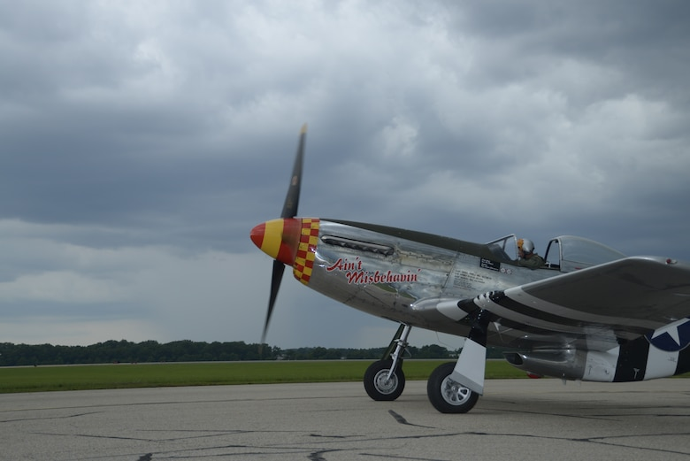 """Col. Clarence """"Bud"""" Anderson (retired)  prepares for take-off in a P-51 Mustang during the Gathering of Eagles annual event at Maxwell Air Force Base, June 6, 2014. The P-51 mustang was brought in for the day to honor Anderson, a triple Ace from WWII, on the 70th anniversary of the allied invasion of Normandy known as D-Day, in which he flew. (U.S. Air Force photo by Staff Sgt. Gregory Brook)"""