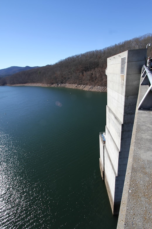 COVINGTON, Va. -- Gathright Dam's intake tower rises out of Lake Moomaw Dec. 12, 2012. The earthen and rolled rock-fill dam impounds the flow of the Jackson River and creates Lake Moomaw, serving both flood control and recreational purposes. (U.S. Army photo/Kerry Solan)