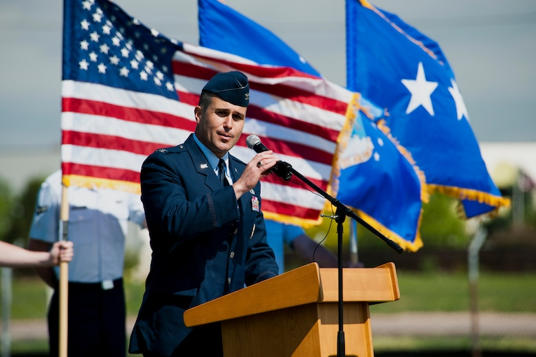 Col. John Wagner, 460th Space Wing commander, gives his final remarks at the conclusion of the 460th SW Change of Command Ceremony June 12, 2014, at the all-purpose field on Buckley Air Force Base, Colo. Wagner became the commander of the 460th SW after service for two years as the 614th Air and Space Operations Center Commander and Joint Space Operations Center director in Vandenberg AFB, Calif. (U.S. Air Force photo by Senior Airman Phillip Houk/Released)