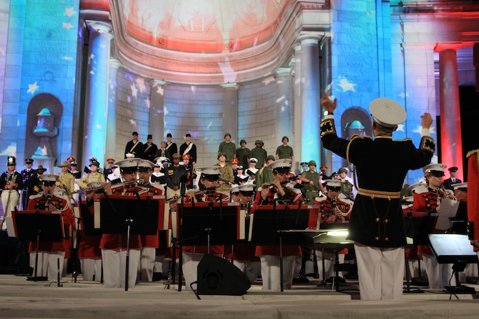 On June 15, 2014, Col. Michael Colburn led the Marine Band during Arlington National Cemetery's 150th Anniversary Celebration at the Memorial Amphitheater. (U.S. Marine Corps photo by Master Sgt. Kristin duBois/released)