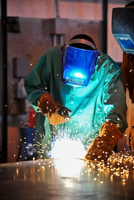 Welding is one of many civil engineer skills cadets learn at the Field Engineering and Readiness Laboratory in Jacks Valley. (U.S. Air Force Photo/Sarah Chambers)