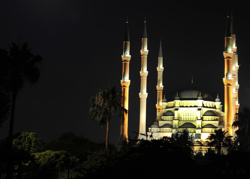 The Sabanci Mosque is illuminated during the celebration called Kandil held June 12, 2014, Adana, Turkey. There are five holy evenings on the Muslim calendar which are called Kandil. During the Ottoman Empire, Sultan Selim II, of 16th, century lit candles on the minarets (towers) of the mosques in order to announce these holy nights to the public. (U.S. Air Force photo by Staff Sgt. Veronica Pierce)