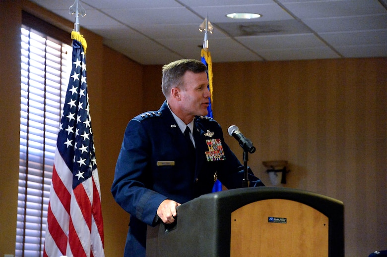 Lt. Gen. Tod Wolters, Commander 12th Air Force (Air Forces Southern) speaks during the 612th Theater Operations Group Change of Command Ceremony on Davis-Monthan AFB, Ariz., June 17, 2014.  Wolters thanked Col. Jonathan VanNoord for his service during his tenure as the 612 TOG commander and welcomed Col. James Sheedy as the new commander.  (U.S. Air Force photo by Tech. Sgt. Heather R. Redman/Released)