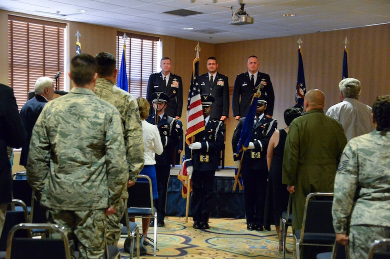 The Davis –Monthan Honor Guard posts the colors during the 612th Theater Operations Group Change of Command Ceremony on Davis-Monthan AFB, Ariz., June 17, 2014.  Col. Jonathan VanNoord relinquished command to Col. James Sheedy. (U.S. Air Force photo by Tech. Sgt. Heather R. Redman/Released)