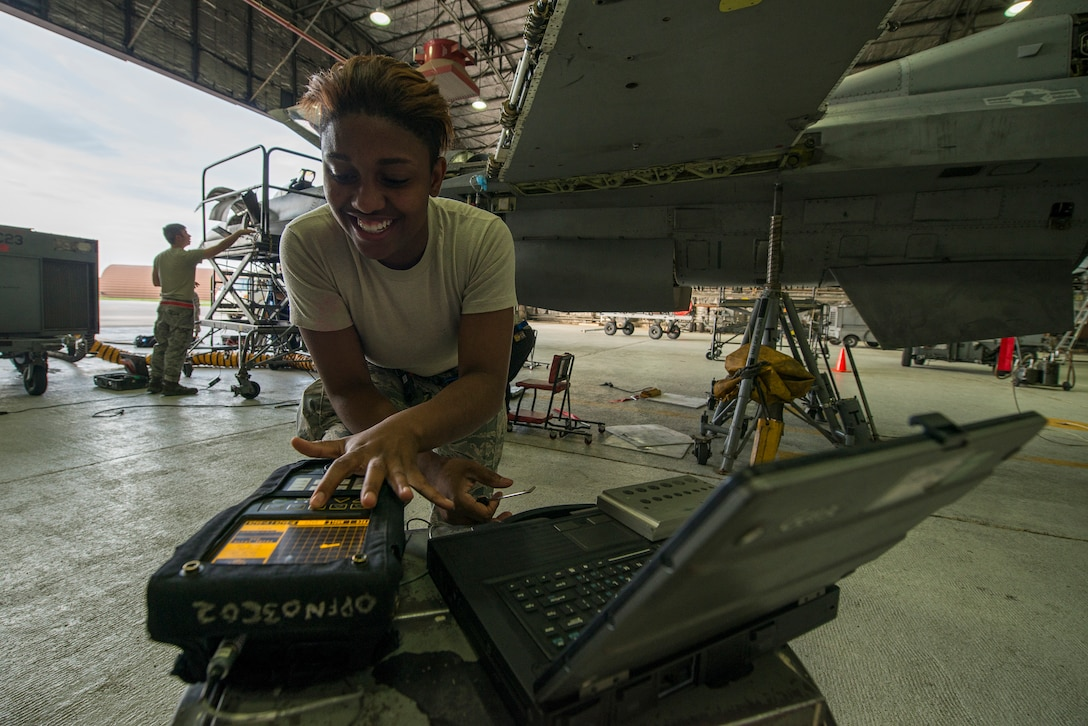 Senior Airman Kayla Dale runs a test on a piece of equipment June 4, 2014, at Osan Air Base, South Korea. Dale and the non-destructive inspector shop are responsible for inspecting equipment and parts of numerous planes on base using different techniques like eddie currents, magnetic particles, penetrant, ultrasonic and x-rays. Dale is a 51st Maintenance Squadron ND inspector. (U.S. Air Force photo/Staff Sgt. Jake Barreiro)