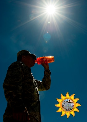 With the temperature rising, it is important to watch for and prevent heat-related illness. According to the Centers for Disease Control and Prevention, heat exhaustion signs include heavy sweating, weakness, fast or weak pulse, nausea or vomiting, fainting and cold, pale or clammy skin. If someone is experiencing these symptoms, move to a cooler area, lie down and loosen clothing, apply cool and wet cloths to the body, sip water, and seek medical attention if there is continuous vomiting. Heat stroke signs include high body temperature, hot, red, dry, or moist skin, rapid strong pulse, and possible unconsciousness. If someone is experiencing a heat stroke, immediately call 911, move the person to a cooler environment, lower the person's body temperature with cool cloths, and do NOT give fluids. When working outdoors, the CDC advises drinking two to four cups of water every hour while working. Avoid alcohol or liquids with large amounts of sugar, wear and reapply sunscreen, and spend time in air-conditioned buildings during breaks and after work. (U.S. Air Force photo illustration by Airman 1st Class Thomas Spangler)