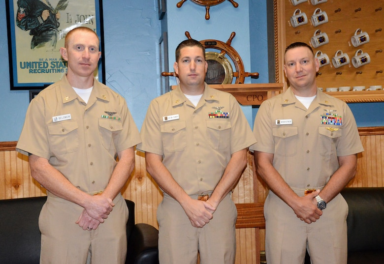 Joshua Beloncik, Eric Samek and Larry Kutnock were all recently promoted to master chief petty officer, the Navy's highest enlisted rank, a feat only achieved by 13.8 percent of eligible senior chiefs this year. (Air Force photo by Kelly White)
