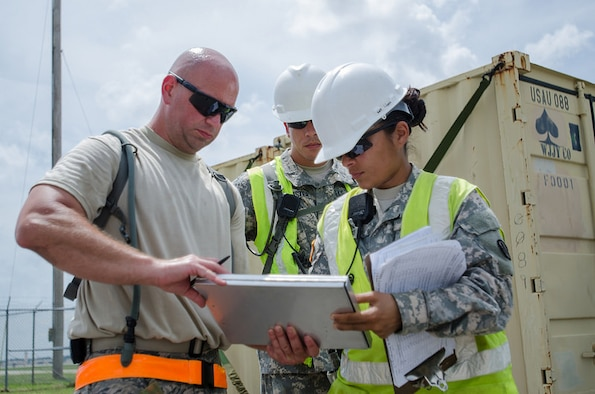 Sgt. Claribel Lopez Feliciano, yard boss for the U.S. Army's 688th Rapid Port Opening Element, signs a manifest for cargo from Staff Sgt. Kevin Freese, an aerial porter for the Kentucky Air National Guard's 123rd Contingency Response Group, before the cargo is shipped to a staging area called the forward node during Capstone '14, a homeland earthquake-response exercise at Fort Campbell, Ky., on June 18, 2014. The 123rd CRG is joining with the 688th RPOE to operate a Joint Task Force-Port Opening here from June 16 to 19, 2014. (U.S. Air National Guard photo by Master Sgt. Phil Speck)
