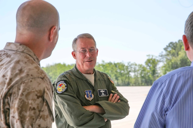 Major General Thomas R. Moore, commanding general of the Georgia Air National Guard, visits Marine Corps Air Station Beaufort, June 10. During the visit, Moore toured Marine Fighter Attack Training Squadron 501 hangar and pilot training center.