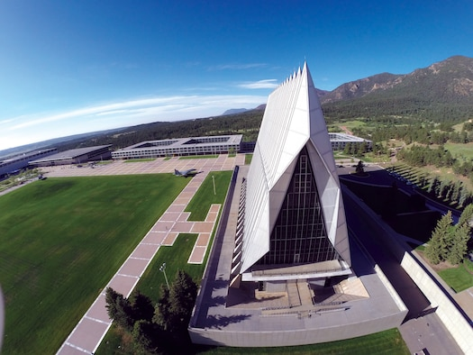 The exterior of the Cadet Chapel was  scanned with a remotely piloted aerial vehicle with GoPro camera this June 16 - 20. The data will be used  to detect structural problems, and virtual online tours of the chapel. (U.S. Air Force photo)