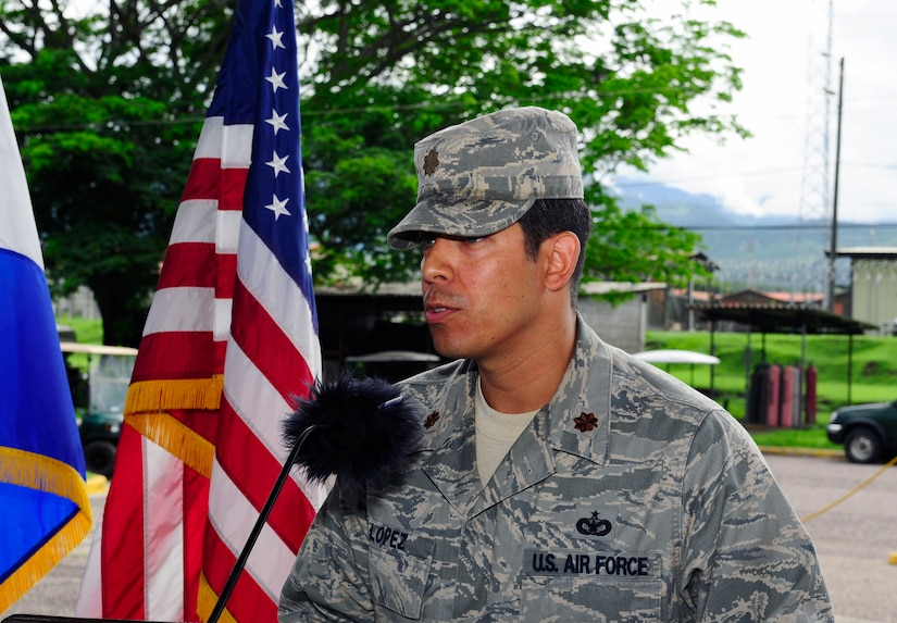 U. S. Air Force Maj. Andres Lopez addresses the Joint Task Force-Bravo Joint Security Forces at Soto Cano Air Base, Honduras during the change of command ceremony, June 18, 2014. Lopez assumed command from outgoing commander U. S. Air Force Maj. Robert Shaw, Jr. The mission of Joint Security Forces is to conduct installation security and provide security support for personnel recovery, search and rescue, counter-terrorism, counter-narcotics terrorism, disaster response, noncombatant evacuation order, and humanitarian/civic assistance in support of Joint Task Force-Bravo theater-wide operations.  (Photo by Martin Chahin)