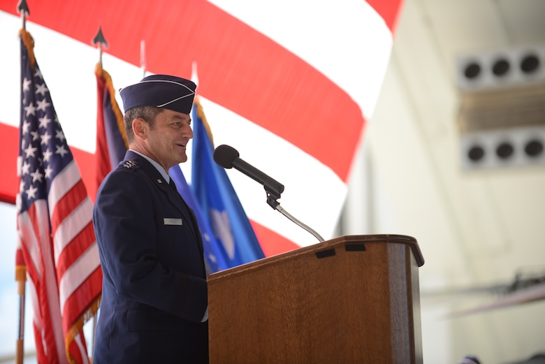 Lt. Gen. Russell Handy, 11th Air Force commander, speaks to Team Andersen during the 36th Wing Change of Command ceremony June 19, 2014 on Andersen Air Force Base, Guam. Handy officiated the transition of authority of the Wing from Brig. Gen. Steven Garland to Brig. Gen. Andrew Toth. (U.S. Air Force photo by Airman 1st Class Adarius D. Petty/Released)
