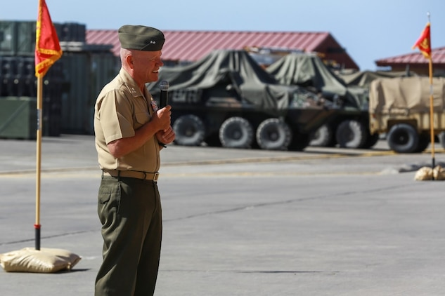 Major Gen. Lawrence Nicholson, Commanding General, 1st Marine Division, I Marine Expeditionary Force, addresses Marines, sailors, friends and family during 1st Light Armored Reconnaissance Battalion's change of command ceremony aboard Camp Pendleton, Calif., June 19, 2014. During the ceremony, Lt. Col. Gilbert D. Juarez relinquished command of the Highlanders to Lt. Col. Christian M. Rankin. (U.S. Marine Corps photo by Lance Cpl. Anna Albrecht)