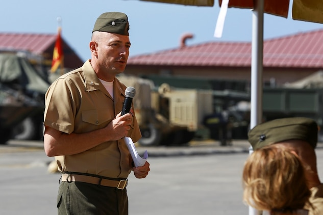 Col. Gilbert D. Juarez, former commanding officer of 1st Light Armored Reconnaissance Battalion, 1st Marine Division, I Marine Expeditionary Force, addresses Marines, sailors, friends and family during a change of command ceremony aboard Camp Pendleton, Calif., June 19, 2014. During the ceremony, Juarez relinquished command of the Highlanders to Lt. Col. Christian M. Rankin. (U.S. Marine Corps photo by Lance Cpl. Anna Albrecht)
