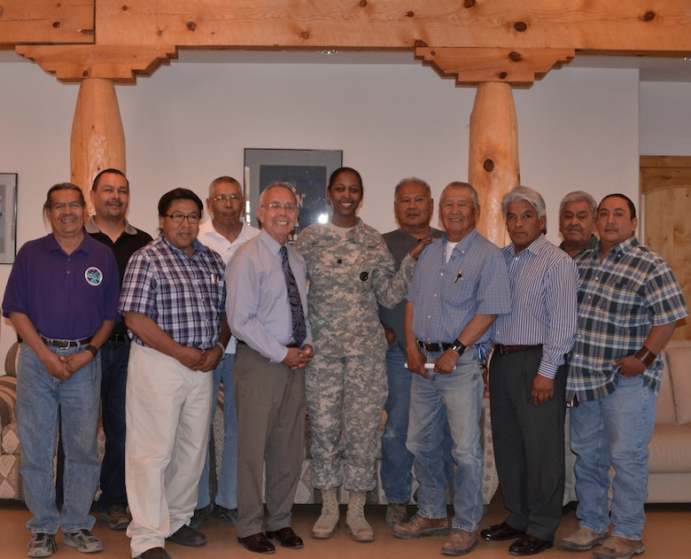 COCHITI PUEBLO, N.M., -- Albuquerque District Commander , Lt. Col. Antoinette Gant gathered with Cochiti Tribal Council members for a photo, June 5, 2014.