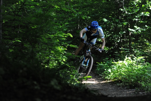 Senior Airman David Flaten, a 811th Security Forces Squadron protective services member and professional cross-country mountain biker, trains June 3, 2014, at Rosaryville State Park, Md. Flaten is ranked 43rd of 250 according to USA Cycling, the official cycling organization responsible for identifying, training and selecting cyclists to represent the United States in international competition. (U.S. Air Force photo/Senior Airman Nesha Humes)