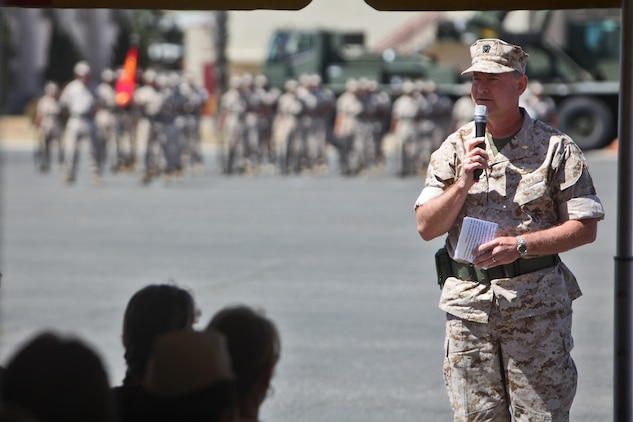Navy Capt. Theodore P. Briski, commanding officer, 1st Medical Battalion, 1st Marine Logistics Group, addresses Marines, sailors, family and friends during the battalion's change of command ceremony aboard Camp Pendleton, Calif., June 17, 2014. Navy Capt. James A. LeTexier, commanding officer, 1st Med. Bn., passed on the command of the battalion to Briski, who recently served as the executive officer of Naval Hospital Lemoore, Calif.