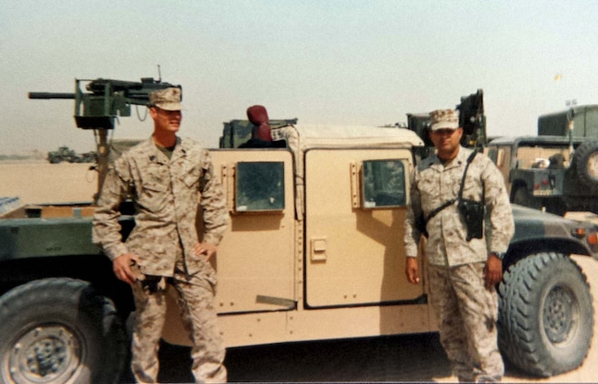 Courtesy photo Master Sgts. Allessi and Ramos in Iraq, 2005.