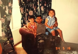 Daniel Ramos at home in Fallbrook, Calif., with his children Daniel and Terri in 1994.