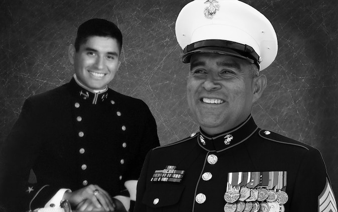 Photo Illustration. Navy Ensign Daniel Ramos Jr. followed in the tradition of military service after his father  retired Marine Master Sgt. Daniel Ramos.