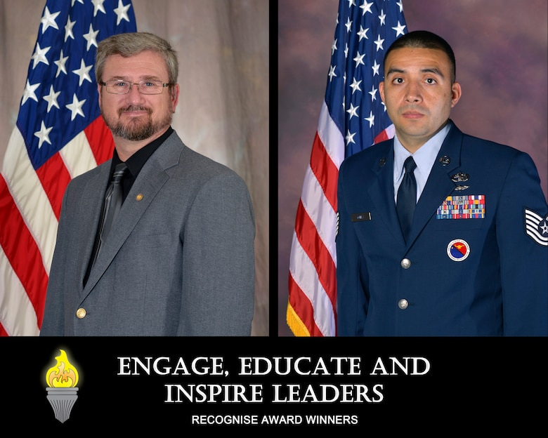 U.S. Air National Guard civilian, John Hawk, a creator of advanced distributive learning products at the I.G. Brown Training and Education Center, and U.S. Air Force Tech. Sgt. Angelo Gomez, an enlisted professional military education instructor for the Paul H. Lankford Enlisted PME Center, are recognized as the TEC's Civilian of the 2nd Quarter and NCO of the 2nd Quarter, 2014. (U.S. Air National Guard file photo illustration/Released)