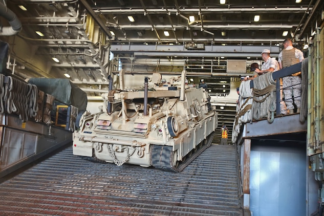 An M88 recovery vehicle operated by Marines with Combat Logistics Battalion 15, Combat Logistics Regiment 15, 1st Marine Logistics Group, climbs a ramp aboard amphibious transport dock ship USS New Orleans (LPD-18) during an embarkation operation in support of a Defense Support of Civil Authorities  training exercise aboard Naval Base San Diego, Calif., June 18, 2014. During DSCA operations, the Navy-Marine Corps team can provide local authorities with timely support, allowing them to send aid to areas in the United States where the infrastructure might be damaged beyond the local authorities' capabilities. CLB-15 provides a wide array of capabilities during a DSCA operation, from resupplying forward areas with the Medium Tactical Vehicle  Replacement, to recovering wreckages during disaster relief operation with the M88 recovery vehicles and the Logistics Vehicle Systems.