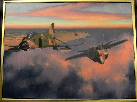 """""""Showtime"""" is a piece of art painted by Maj. Warren Neary, and was presented to Air Force Chief of Staff Gen. Mark A. Welsh III June 20, 2014, in the Pentagon.  Neary is a U.S. Air Force Reserve historian and contributed """"Showtime"""" and another work, titled """"Bandage 33,"""" through the Air Force Art Program. (U.S. Air Force photo/Scott M. Ash)"""