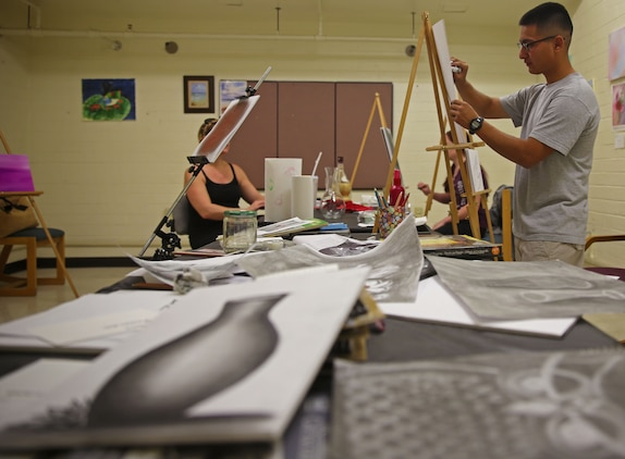 The Single Marine Program at Marine Corps Air Station Yuma, Ariz., hosted an art class for service members in an effort to bolster imagination and provide an opportunity to those looking to learn how to draw, June 17.