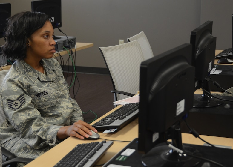 Computer labs provided valuable online training time to many Citizen Airmen during AT training week June 16-22, 2014, at Whiteman Air Force Base, Missouri. (U.S. Air National Guard photo by Staff Sgt. Brittany Cannon)
