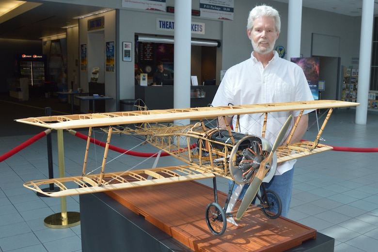DAYTON, Ohio --  Aircraft model builder Don Gentry donated his 1/5 scale model of a Thomas-Morse S4C Scout to the National Museum of the U.S. Air Force. Fabrication involved roughly 7,000 man hours spread over 5 years, scratch built by Gentry. Plans call for the model to be on display in the museum's Early Years Gallery. (U.S. Air Force photo by Ken LaRock)