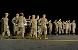 A. U.S. Marine Corps carry team transfers the remains of Lance Cpl. Adam F. Wolff of Cedar Rapids, Iowa, June 23, 2014, at Dover Air Force Base, Del. Wolff was assigned to the 2nd Combat Engineer Battalion, 2nd Marine Division, II Marine Expeditionary Force, Camp Lejeune, N.C. (U.S. Air Force photo/Airman First Class Zachary Cacicia)