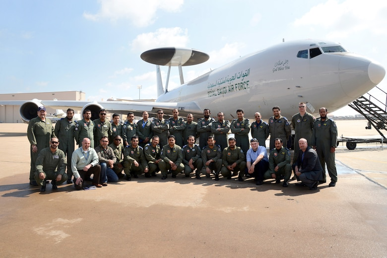 After nearly a year, a newly restored Royal Saudi Air Force AWACS prepares to leave to Tinker after work by a group from the 76th Aircraft Maintenance Squadron. (Air Force photo by Kelly White)