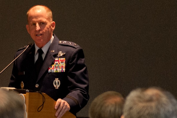 Lt. Gen. Stephen Wilson talks about changes to the nuclear enterprise during an Air Force Association event at the AFA Headquarters Building June 24, 2014, in Washington, D.C. The largest change Wilson said to expect is a shift in culture, brought on by the recent results of the Force Improvement Program implemented in April. Wilson is the commander of Air Force Global Strike Command. (U.S. Air Force photo/Staff Sgt. Torri Ingalsbe)