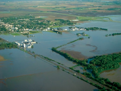Shell Creek flooding May 31, 2008, looking northwest from near its the confluence  with the Platte River. Photo courtesy of Nebraska State Patrol.