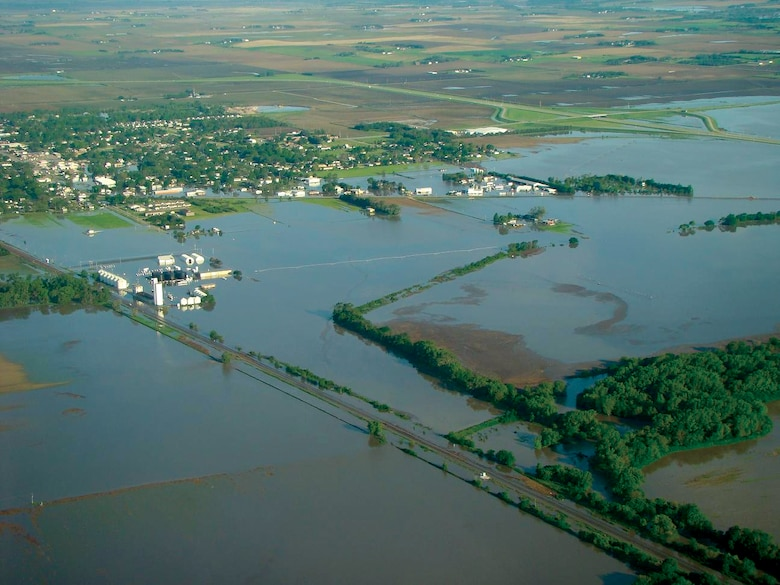 Shell Creek flooding May 31, 2008, looking northwest from near its the confluence 