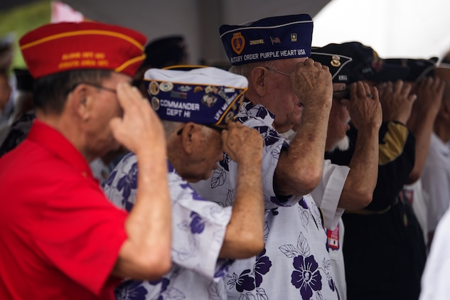 Korean War veterans show their respect and salute while the national anthem plays during the 64th annual Korean War memorial ceremony at the Pacific Memorial Cemetery of the Pacific (Punchbowl), June 25, 2014. The ceremony commemorated U.S. and Republic of Korea veterans, both living and dead, who fought for the freedom of South Korea, and guests in attendance laid wreaths at the base of the memorial to honor those who gave their lives. (U.S. Marine Corps photo by Cpl. Matthew J. Bragg)