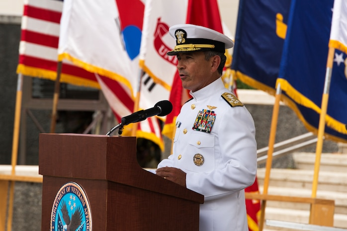 Navy Adm. Harry Harris Jr., U.S. Pacific Fleet commander, recognizes the significance of the Korean War during the 64th annual Korean War memorial ceremony at the National Memorial Cemetery of the Pacific (Punchbowl), June 25, 2014. The ceremony commemorated U.S. and Republic of Korea veterans, both living and dead, who fought for the freedom of South Korea, and guests in attendance laid wreaths at the base of the memorial to honor those who gave their lives. (U.S. Marine Corps photo by Cpl. Matthew J. Bragg)