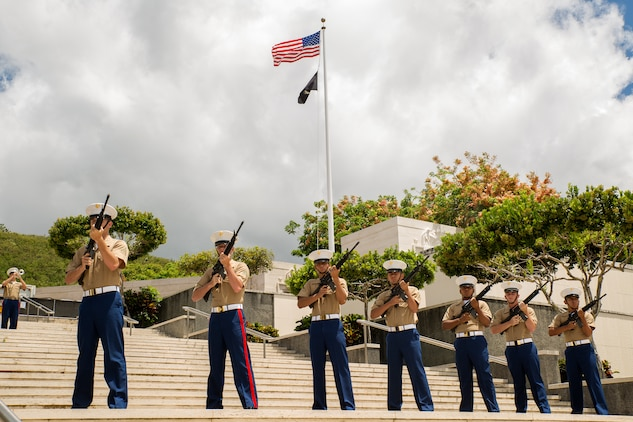 U.S. Marines conduct a rifle honors volley salute at the National Memorial Cemetery of the Pacific (Punchbowl) during the 64th annual Korean War memorial ceremony, June 25, 2014. The ceremony commemorated U.S. and Republic of Korea veterans, both living and dead, who fought for the freedom of South Korea, and guests in attendance laid wreaths at the base of the memorial to honor those who gave their lives. (U.S. Marine Corps photo by Cpl. Matthew J. Bragg)