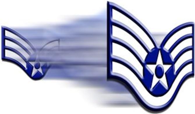 Senior Airman insignia fades into staff sergeant insignia. (U.S. Air Force archive graphic by Senior Airman Miguel Lara)