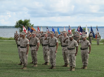 Marines from 6TH Marines, 2ND Marine Division render a hand salute for 6TH Regiment Sergeant Major Post and Relief ceremony.