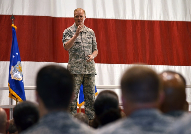 Chief Master Sgt. of the Air Force James A. Cody addresses Airmen during an enlisted call June 24, 2014, on Robins Air Force Base, Ga. During his visit, Cody met with more than 2,000 Reserve, Guard and active-duty Airmen and spoke about key issues in the Air Force. (U.S. Air Force photo/Staff Sgt. Kelly Goonan)