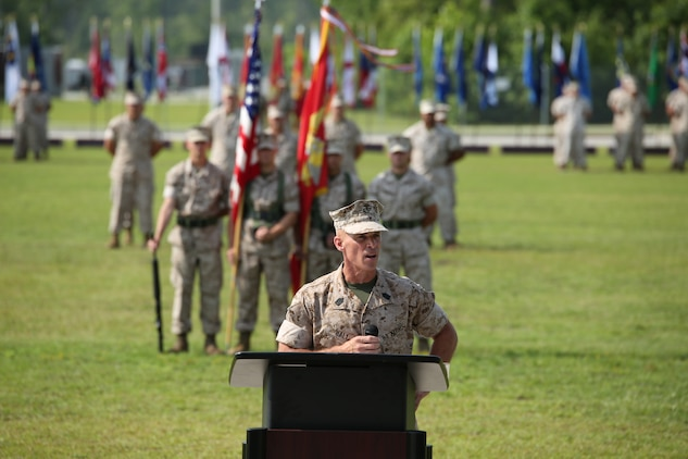 """Sergeant Maj. Thomas A. Hall Jr., former sergeant major of U.S. Marine Corps Forces Special Operations Command, (MARSOC), gives his remarks during his relief and retirement ceremony at Stone Bay, aboard Marine Corps Base Camp Lejeune, N.C., June 27. """"May God continue to bless this great nation, the U.S. Marines, our families and friends, Semper Fidelis Sgt. Maj. Scott,"""" said Hall."""