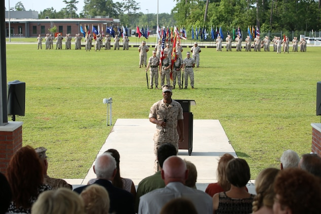 """Sergeant Maj. John W. Scott, sergeant major of U.S. Marine Corps Forces Special Operations Command, (MARSOC), gave his remarks during his appointment ceremony at Stone Bay, aboard Marine Corps Base Camp Lejeune, N.C., June 27. """"I am humbled and honored to be counted amongst the ranks of MARSOC, I look forward to joining you and adding to its rich legacy,"""" said Scott."""