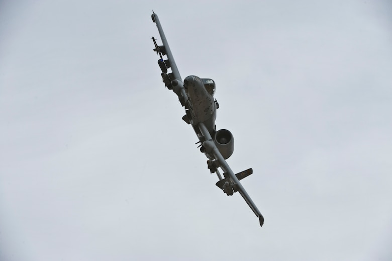 A U.S. Air Force A-10 Thunderbolt II flies during a USAF Weapons School Joint Forcible Entry exercise June 21, 2014, over the Nevada Test and Training Range. The JFE tests aircrews on executing a sortie in a dynamic threat environment within the ground commander's required time frame. (U.S. Air Force photo by Senior Airman Christopher Tam)