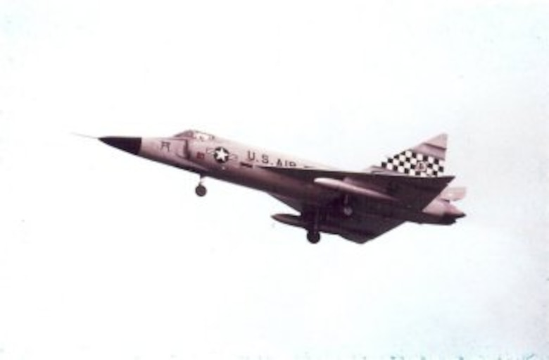 An F-102 Delta Dagger assigned to the 51st Fighter Interceptor Wing, Naha Air Base, Okinawa. The aircraft was part of the wing's arsenal in 1964 when the 16th Fighter Interceptor Squadron was deployed to Vietnam. (U.S. Air Force photo/Historical Archives)